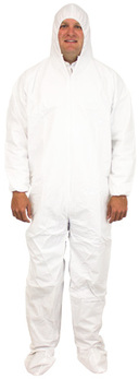 Breathable Barrier Coveralls. 2-XL. White. 25 count.