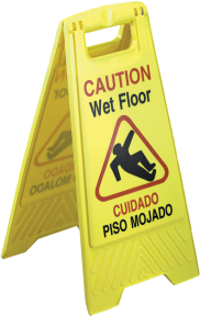 "Picture of item 595-101 a Wet Floor Sign.  12"" x 24"" x 1-1/2"".  Yellow Color.  Bilingual English/Spanish Warning."