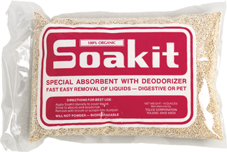Picture of item 642-201 a Soak-It.  Bulk Universal Organic Absorbent.  1 lb. Bag.  Biodegradable.  Commonly used in schools as vomit absorbent.