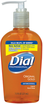 Picture of item 670-204 a Liquid Dial® Gold Antimicrobial Soap, Floral Fragrance, 7.5oz Pump Bottle, 12/Carton
