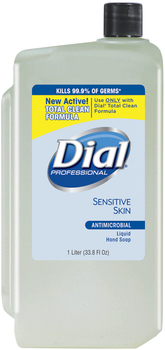 Liquid Dial® Antimicrobial Soap for Sensitive Skin, 1000mL Refill, 8/Carton