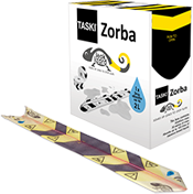 Picture of item P603-111 a TASKI Zorba® Leak Lizard Absorbent Strips. 12 X 60 cm. Black and Yellow. 50 count.