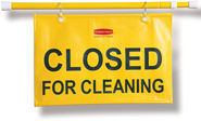"Picture of item 966-277 a Hanging Sign - Closed for Cleaning. Yellow. 50"" w x 1"" d x 13"" h."