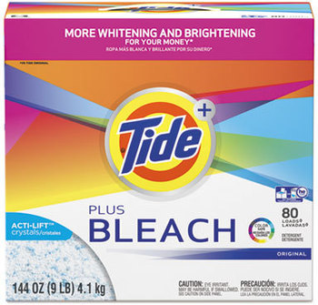 Picture of item 965-744 a Tide® Plus Bleach Powder Laundry Detergent, Original Scent, Powder, 144 oz Box