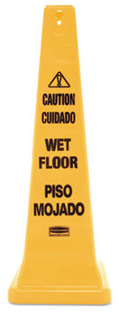 Rubbermaid® Commercial Multilingual Safety Cone, Wet Floor Yellow Safety Cone, 12 1/4 x 12 1/4 x 36h
