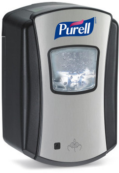 Picture of item 672-228 a PURELL® LTX-7™ Dispenser.  Brushed Chrome with Black Finish.  Uses 700 mL LTX™ Refills.