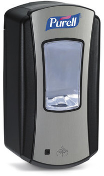 Picture of item 672-230 a PURELL® LTX-12™ Dispenser.  Brushed Chrome with Black Finish.  Uses 1,200 mL LTX™ Refills.