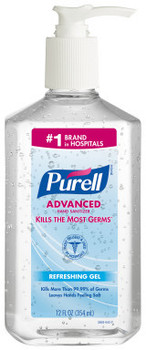 PURELL® Advanced Hand Sanitizer Gel in Pump Bottles. 12 fl oz. 12 bottles/case.