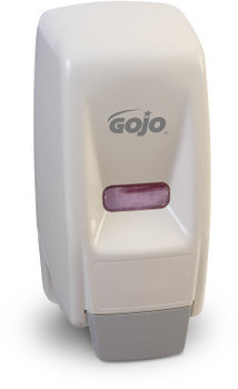 Picture of item 672-203 a GOJO® 800 Series Bag-in-Box Dispenser. Push-Style Dispenser for GOJO® Lotion Soap.  White Color.