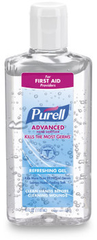 Picture of item 670-723 a PURELL® Advanced Hand Sanitizer Gel in Portable Flip Cap Bottles. 4 fl oz. 24 Bottles/Case.