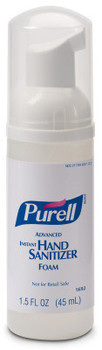 Picture of item 670-167 a PURELL® Advanced Hand Sanitizer Foam in Portable Pump Bottles. 45 mL. 24/Case.