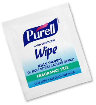 PURELL® Hand Sanitizing Wipes Alcohol Formula. 100 Individually-Wrapped Wipes in Box. 10 Boxes/Case.