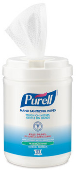 Picture of item 968-149 a PURELL® Alcohol Formulation Sanitizing Wipes,  Alcohol Formulation, 6 x 7, White, 175 Wipes/Canister, 6 Canisters/Case