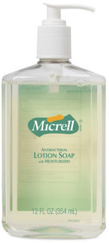 Picture of item 982-776 a MICRELL® Antibacterial Lotion Soap. 12 fl oz Pump Bottle. 12 Bottles/Case.