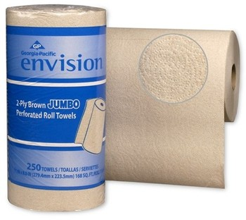 Picture of item 875-123 a GP Envision® High Capacity Perforated Paper Kitchen Roll Towels. 11 X 8.8 in sheets. Brown. 3000 sheets.