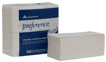 "Picture of item 226-113 a Preference® 2-Ply 1/8 Fold Paper Dinner Napkins.  16"" x 15"".  White Color.  100 Napkins/Package."