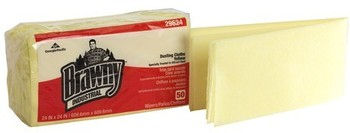 "Picture of item 823-104 a Brawny Industrial™ Dusting Cloths - Quarter Fold.  24"" x 24"".  Yellow Color.  50 Cloths/Package."
