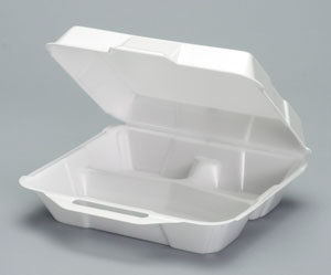 Picture of item 217-702 a Genpak® Hinged-Lid Foam Carryout Containers,  3-Comp, 9x9-1/4x3, White, 100/BG, 2 BG/CT