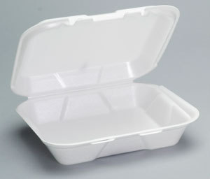 Picture of item 217-713 a Genpak® Snap It™ Hinged-Lid Foam Food Container,  Small, 1-Comp, White, 8-7/16x7-5/8x2-3/8, 100/Bag
