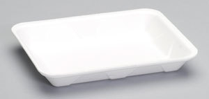 "Picture of item 341-197 a Foam Supermarket Heavy Duty Tray #4P.  9.25"" x 7.25"" x 1.13"".  White Color.  400 Trays/Case."