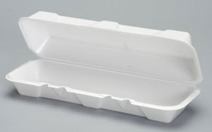 Picture of item 217-716 a Genpak® Hinged-Lid Foam Carryout Containers,  X-Large, 13-1/5x4-1/2x3-1/5, White, 100/BG, 2/CT