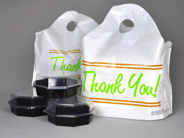 "Picture of item 964-563 a Take Out Bags with Wave Top Handles and ""Thank You"" Print. 21 X 18 in. 1.5 mils. 500 count."