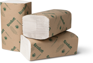 Picture of item 873-502 a EcoSoft® Singlefold Towels. 9 X 10 in. Natural White. 4000 towels.