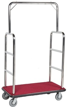 Picture of item 963-120 a Aarco Chrome Finish Luggage Cart with Clothing Rail. 72 X 43 5/8 X 26 in.