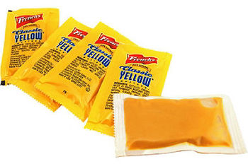 Picture of item 192-305 a Mustard Packet.  5.5 Gram Portion. 500 Packets/Case