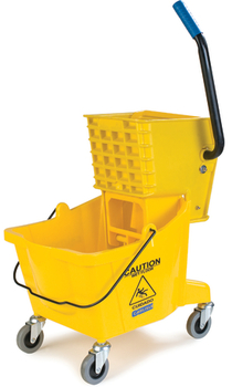 Picture of item 963-116 a Mop Bucket with Side Press Wringer. 18.5 X 16.5 X 16.5 in. 26 qt. Yellow.