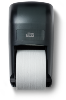Picture of item 969-105 a Tork 2-Roll Controlled-Use Bath Tissue Dispenser.  Black Translucent.