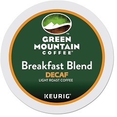 Picture of item GMT-7522 a Green Mountain Coffee Breakfast Blend Decaf Coffee K-Cups. 96 count.
