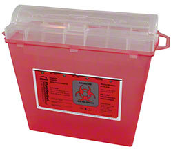 Picture of item 963-044 a Sharps Container. 12 1/2 X 11 1/2 X 5 1/2 in. 5 qt. Red.