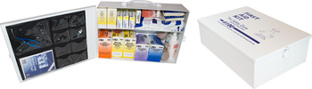 Picture of item STZ-K1060 a 100 Person Metal First Aid Kit with Wall Mountable Clips.