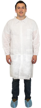 Picture of item 973-730 a Disposable Polypropylene Lab Coat with 3 Pockets and Elastic Wrists. Size X-Large. White. 30 count.