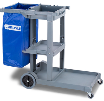 Picture of item 963-169 a Long Platform Janitorial Cart. 49 X 19 X 39 in. Gray.