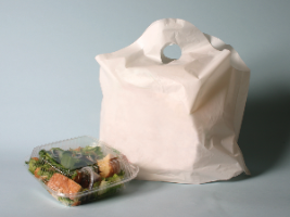"Picture of item 964-649 a Unprinted Plastic Take Out Bag with Wave Top Handles. 24"" x 20"". 1.25 mil. White. 250 Bags/Case."