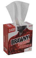 "Picture of item 351-126 a Brawny Professional™ Premium All Purpose DRC Wipers.  9.25"" x 16.3"".  90 Wipers/Pop-Up Box D400 Disposable Cleaning Towel Tall Box, White"
