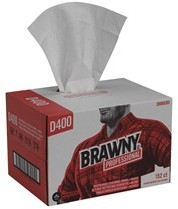 "Picture of item 871-128 a Brawny Professional™ Premium All Purpose DRC Wipers (Quarter Case Dispenser Box).  12.5"" x 16.3"".  White Color.   D400 Disposable Cleaning Towel, Convenience Case"
