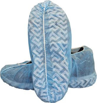 Picture of item 970-990 a Disposable Polypropylene Shoe Cover with Tread. Size Large. Blue. 300 count.