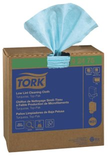 Picture of item 963-306 a Tork Low Lint Pop Up Wiper Single Ply Cleaning Cloths. 9 X 16.5 in. Turquoise. 800 count.