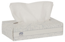 Picture of item 886-511 a Tork Universal Facial Tissue Flat Box. White. 100 Sheets/Box, 30 Boxes/Case.